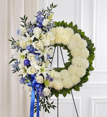 Serene Blessings Standing Wreath- Blue & White