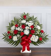 Heartfelt Tribute? Floor Basket- Red & White