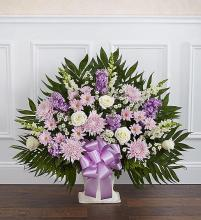 Heartfelt Tribute? Floor Basket- Lavender & White