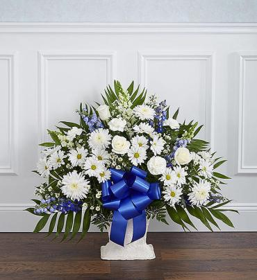Heartfelt Tribute? Floor Basket- Blue & White