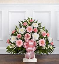 Heartfelt Tribute? Floor Basket- Pink & White