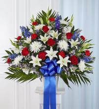 Heartfelt Sympathies? Standing Basket- Red, White & Bl