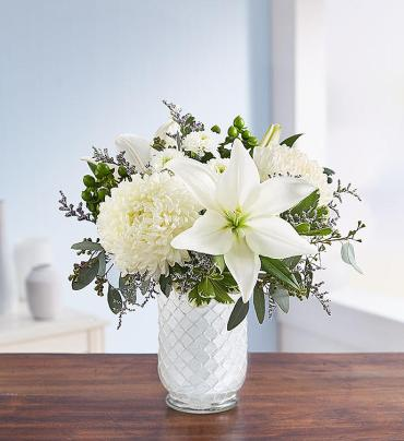 Pure Elegance Bouquet in White Mosaic Vase