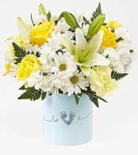 Tiny Miracle New Baby Boy Bouquet - VASE INCLUDED